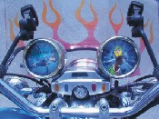 Flame effect windscreen, artwork on counter and speedometer